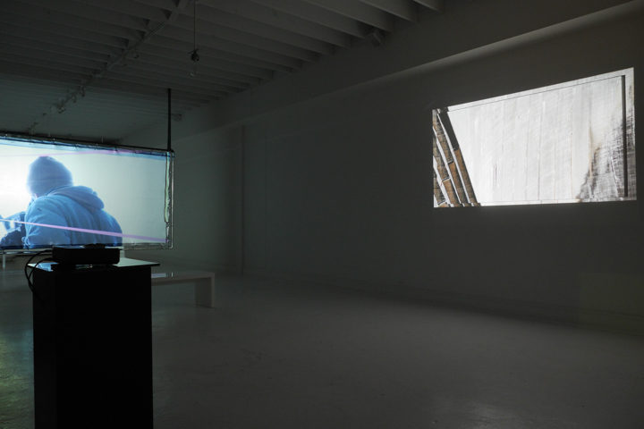 Nacelle: a video art exhibition by Marco G. Ferrari, Blanc Gallery, Chicago, IL, February 28–May 1, 2015. View of Nacelle, 2013–15 (left) & D(z)iga, 2012 (right).