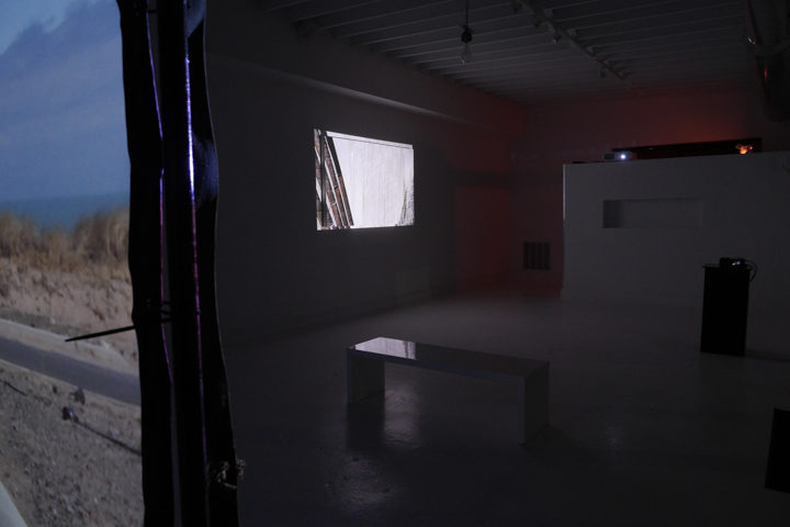 Nacelle: a video art exhibition by Marco G. Ferrari, Blanc Gallery, Chicago, IL, February 28–May 1, 2015. Views of (left) Nacelle, 2013–15 & (right) D(z)iga, 2012.