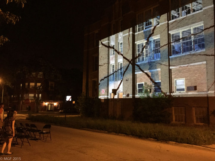 Surfaces: An Outdoor Video Projection, Saint Laurence School building, Grand Crossing, Chicago, IL, USA, June 21, 2015.