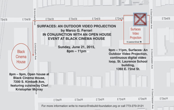 Surfaces: An Outdoor Video Projection, Saint Laurence School building, Grand Crossing, Chicago, IL, USA, June 21, 2015. Map.