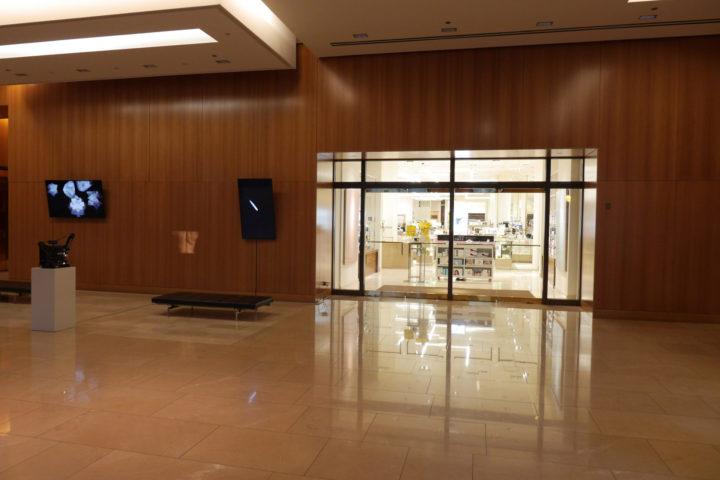 Spirit Level: Virginio Ferrari & Marco G. Ferrari, CBRE lobby, 737 N. Michigan Ave., Chicago, IL, USA, 2016–17. View of Contrails with Body, Marco G. Ferrari.