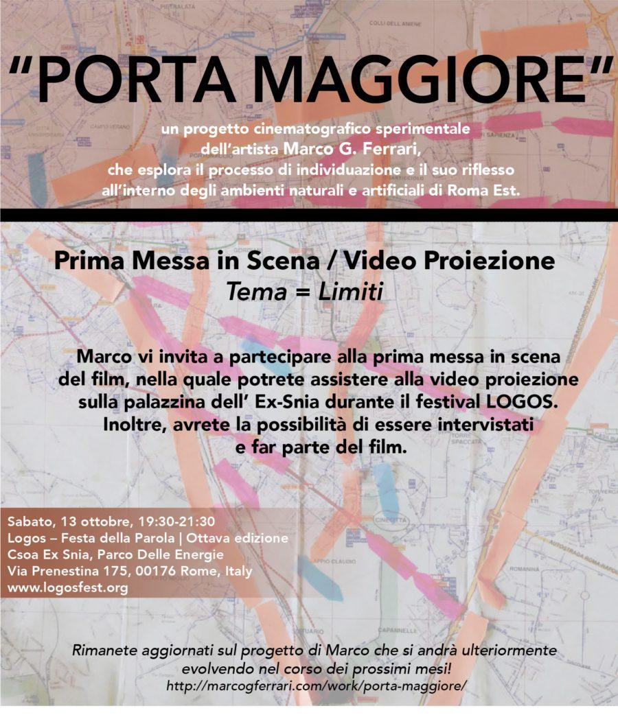 """""""Porta Maggiore: Prima Messa in Scena / Video Proiezione"""", Logos-Festa della Parola, Parco Delle Energie, Rome, Italy, October 13, 19:30–21:30, 2018."""