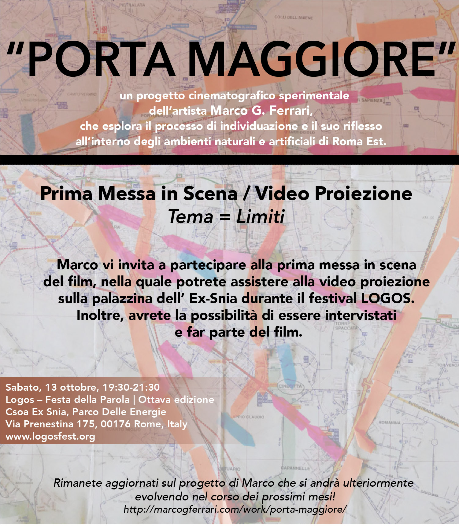 Saturday October 13, 2018 | Porta Maggiore: Prima Messa in Scena / Video Proiezione