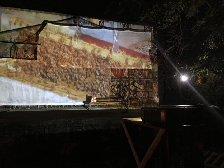 Porta Maggiore Projection - #1 Public Film Shoot, Csoa Ex Snia, Parco delle Energie, Rome, Italy, October 13, 2018. General view.