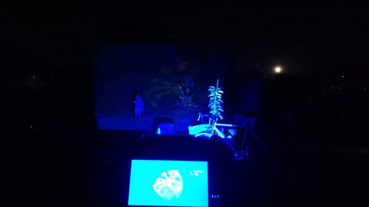 Meduse (per una scena di Porta Maggiore): Proiezione notturna estranea n. 2; Nella prateria del Lago Bullicante/Ex Snia, Festa—Ritorno al lago che combatte, Lago Ex Snia, 2019, Rome, Italy. Public projection. Photo by C. Alevale.