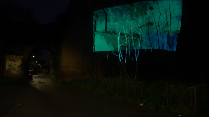 Delfini (per una scena di Porta Maggiore): Proiezione notturna estranea n. 3; Acquedotto Felice, via del Mandrione 390, in collaboration with Stalker/NoWorking, L'inatteso a Roma Est, 2019, Italy. Public Projection. Photo by M. Paravani