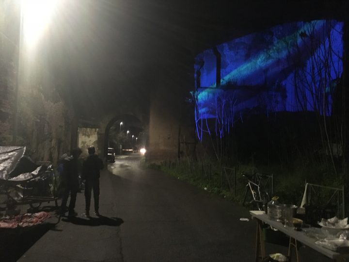 Delfini (per una scena di Porta Maggiore): Proiezione notturna estranea n. 3; Acquedotto Felice, via del Mandrione 390, in collaboration with Stalker/NoWorking, L'inatteso a Roma Est, 2019, Italy. Public Projection. Photo by mgf