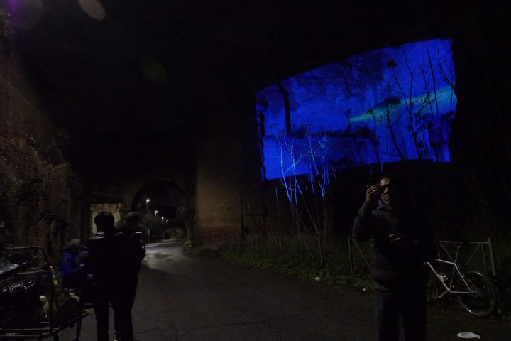 Delfini (per una scena di Porta Maggiore): Proiezione notturna estranea n. 3; Acquedotto Felice, via del Mandrione 390, in collaboration with Stalker/NoWorking, L'inatteso a Roma Est, 2019, Italy. Public Projection. Public Projection. Photo by mgf