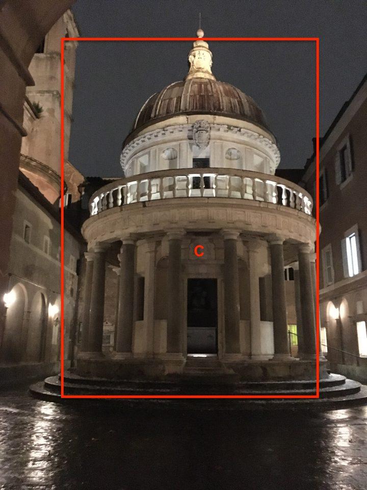 "Proposed projections locations for ""Presentazione Finale Atlante Dell'inatteso A Roma Est"", Real Academia de España en Roma, Italy, December 18, 2019, group exhibit. Photo by mgf."