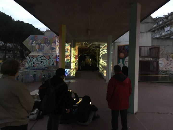 Stella, polipo, anemone e pagliaccio (per una scena di Porta Maggiore): Proiezione notturna estranea n. 4; Tor Sapienza, Rome, Italy, 2019, public projection, Marco G. Ferrari. Photo by mgf.