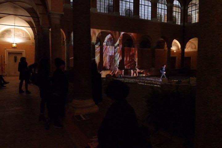 """View of """"Meduse"""" (n. 2), """"Delfini"""" (n. 3), """"Stella, polipo, anemone, pagliaccio"""" (n.4) , 2019, projection, Marco G. Ferrari. In """"Presentazione Finale Atlante Dell'inatteso A Roma Est"""", Real Academia de España en Roma, Italy, December 18, 2019, group exhibit. Photo by mgf"""