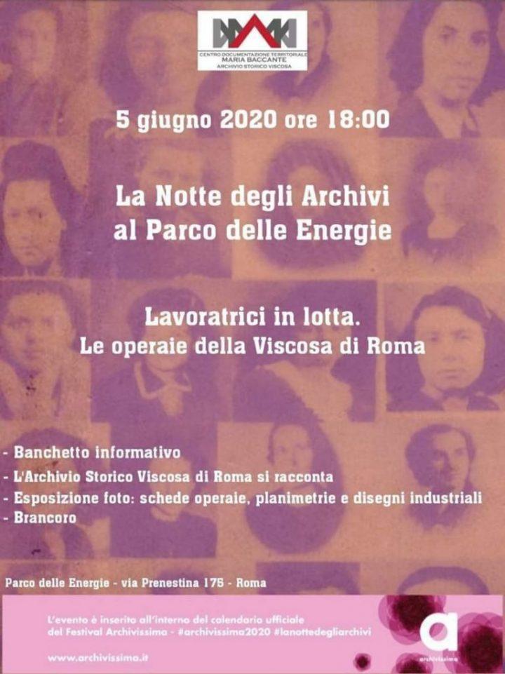 La Notte degli Archivi al Parco delle Energie-Centro documentazione territoriale Maria Baccante-20200520. Poster.