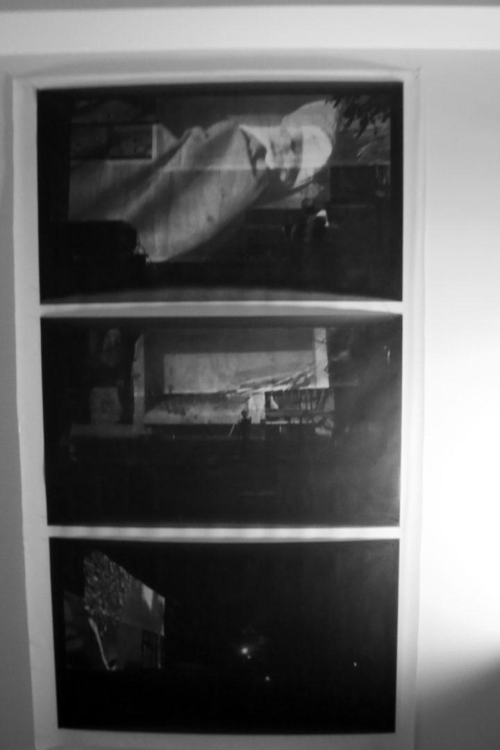 Marco G. Ferrari––Open Studio, 2018, via Gentile da Mogliano 29, Rome, Italy, view of Le api del lago Bullicante Ex Snia (per una scena di Porta Maggiore): Proiezione notturna estranea n. 1; Palazzina della Csoa ExSnia (video frame), 2018, pvc rete mesh prints.