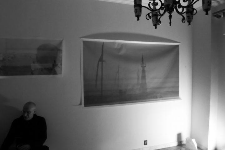 Marco G. Ferrari––Open Studio, 2018, via Gentile da Mogliano 29, Rome, Italy, view of Spirit Level, 2015-17, pvc rete mesh print.