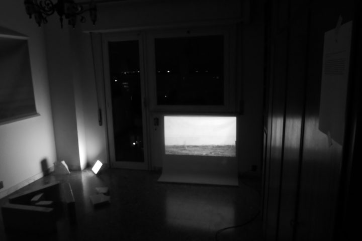 Marco G. Ferrari––Open Studio, 2018, via Gentile da Mogliano 29, Rome, Italy, view of Spirit Level, 2015-17, video installation.