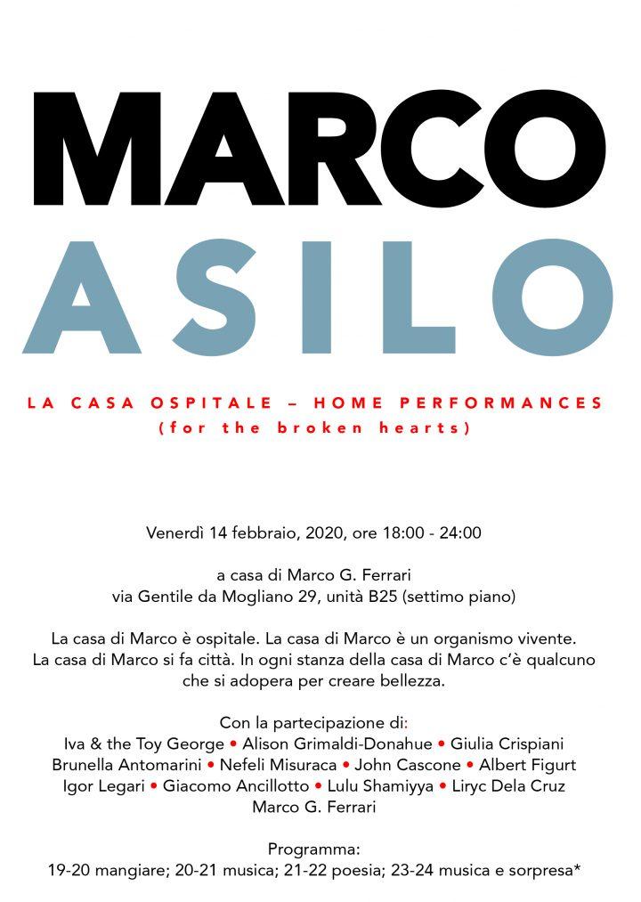 Marco Asilo: La Casa Ospitale; Home Performances (for the broken hearts), casa di Marco G. Ferrari, Rome, 02-14-2020, group exhibit, presented by Rigenera. Postcard invite.